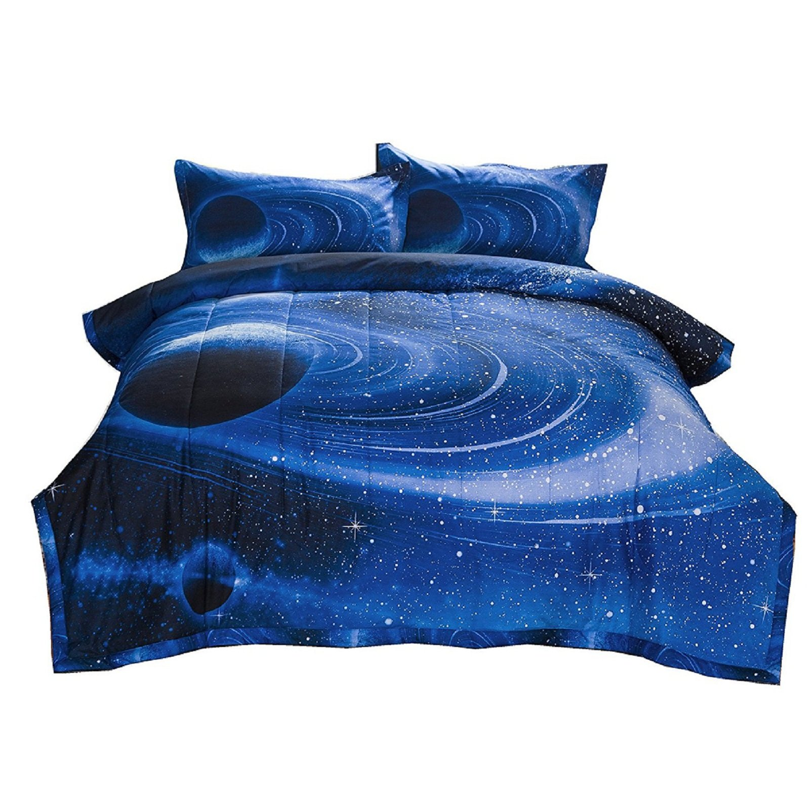 A Nice Night Blue 3 Pieces Comforter Set Galaxy Bedding Set Full Size with 2 Matching Pillows