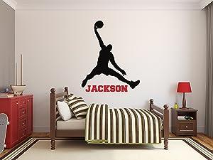 Custom Basketball Name Wall Decals - Boy Kids Room Decor - Nursery Wall Decals - Player Wall Decor Sticker