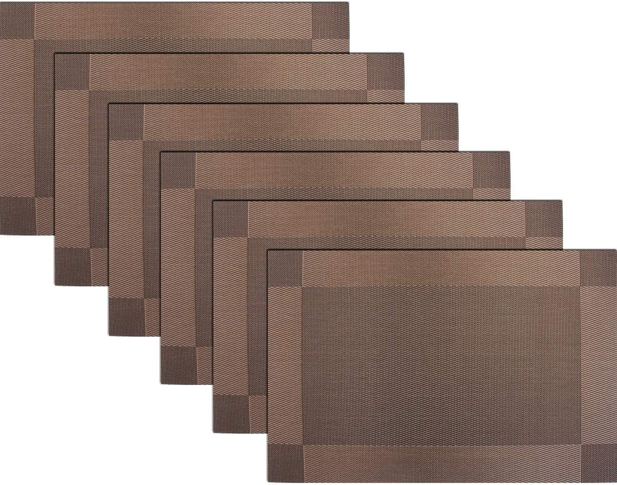 BECHEN Placemats Vinyl Twill Weave Heat-Resistant Table Mats Washable Kitchen Placemats for Dinig Table Set of 6 (Brown)