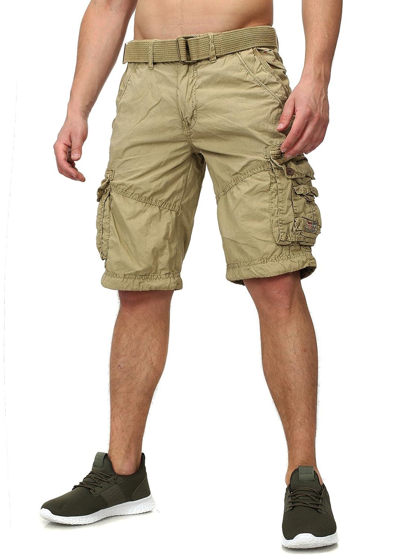 TALLA XXL. Geographical Norway Hombres Bermudas PALMIER Cargo Busque con muchos Details inklusive Cinturón corta Pantalones
