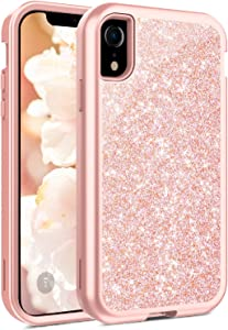 Coolwee Glitter Full Protective Case for iPhone XR Heavy Duty Hybrid 3 in 1 Rugged Shockproof Women Girls Rose Gold for Apple iPhone XR 6.1 inch Shiny Bling