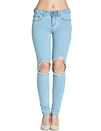 Camii Mia Pantalones Vaqueros Rotos para Chica Mujer Skinny ...