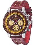 Detomaso - SL1624C-BY - Firenze Style - Montre Homme - Quartz Chronographe - Cadran Multicolore - Bracelet Cuir Rouge