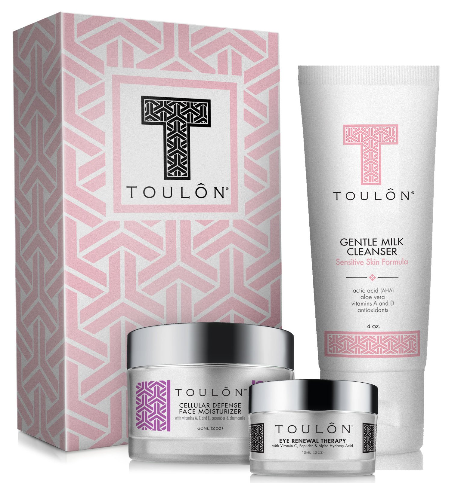 Anti Aging Skin Care Kits: Beauty Gift Sets for Women; Alpha Hydroxy Face Cleanser, Antioxidant Day Cream for Face & Eye Cream for Dark Circles and Puffiness. Perfect Gift Set Kit by TOULON