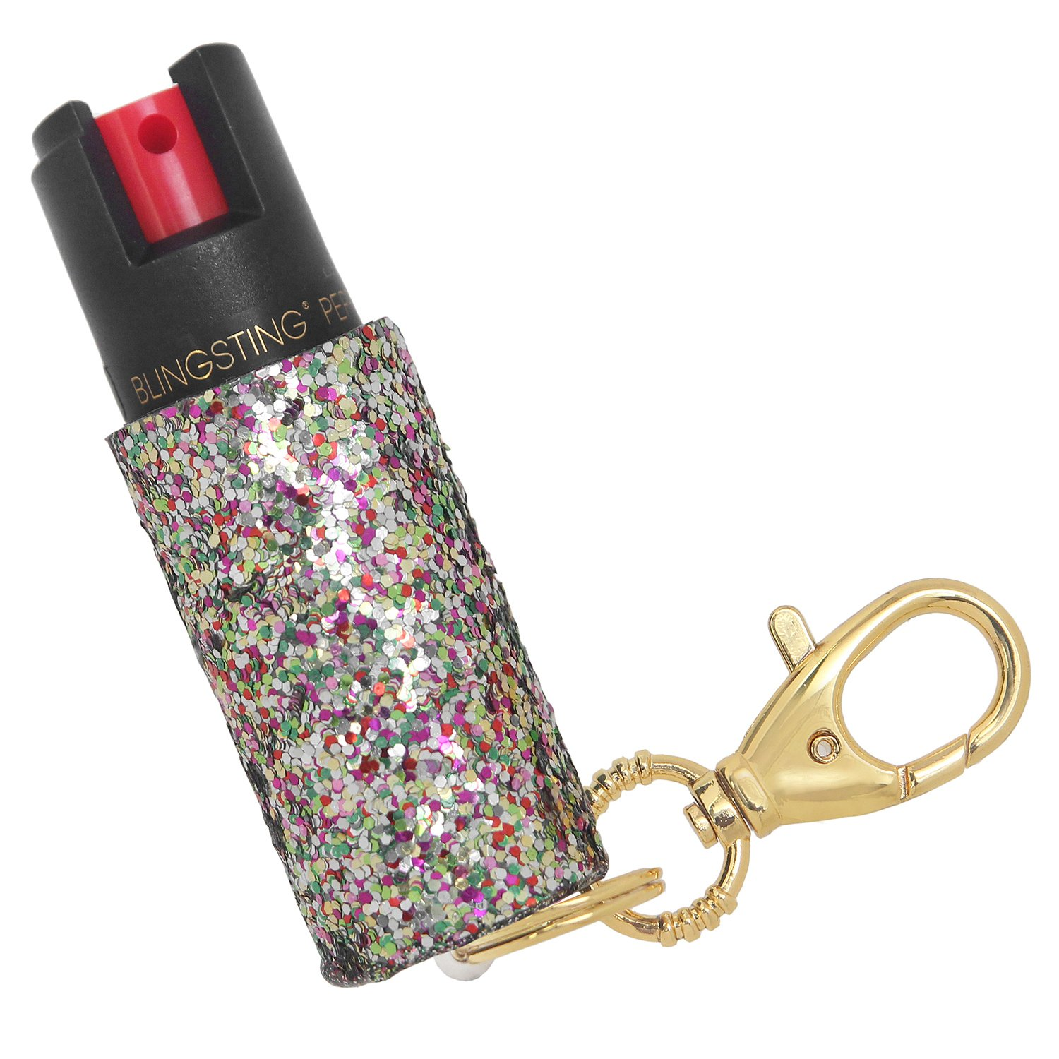 Super-Cute Pepper Spray Purse Charm, Multi-Color Glitter with Gold Keychain, 10% Maximum Strength OC Formula for Self-Defense and Personal Safety