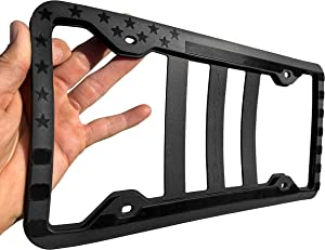 Silicone American Flag License Plate Frame Holder - Subdued 3D Stars and Stripes USA Flag Gloss on Matte for Car, Truck and SUV