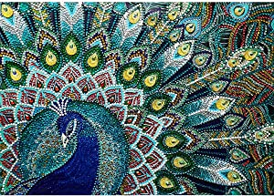 DIY Special Shape Diamond Painting by Number Kit,Peacock Full Drill Needlework Embroidery Kits Arts Craft Canvas for Home Wall Decor Adults and Kids 11.8x15.7 inch (Blue Green Peacock)