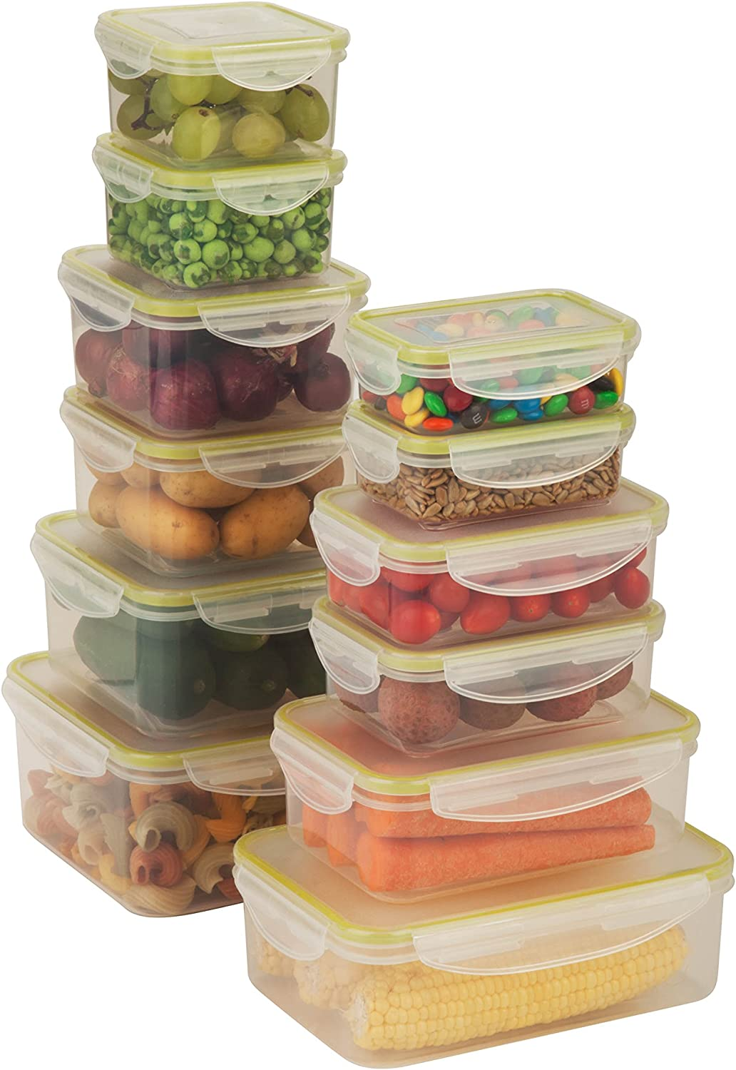 Honey-Can-Do KCH-03827 Snap-Tab Rectangular Food Storage Container Kit, 240ml to 1.5-Litre, 12-Pack