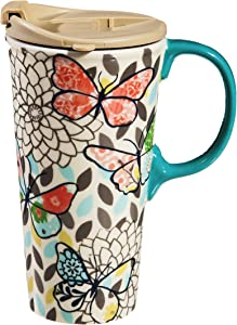Cypress Home Butterfly Pastels Ceramic Travel Coffee Mug, 17 ounces Insulated Travel Mug for Coffee Tea and More