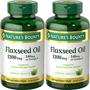 Natures Bounty Natural Cold Pressed Flaxseed Oil, 1200mg, 250 Softgels (2 x 125