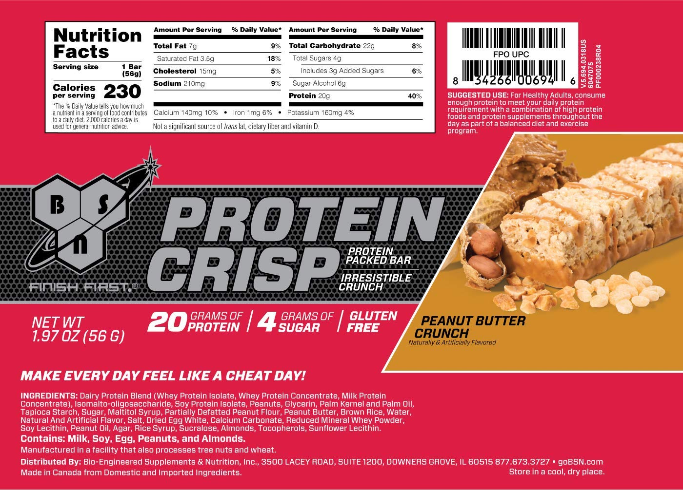 BSN Protein Crisp Bar by Syntha-6, Low Sugar Whey Protein Bar, 20g of Protein, Peanut Butter Crunch, 12 Count (Packaging may vary) by BSN (Image #7)