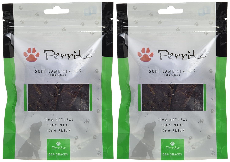 Confezione da 2/X 100/G Perrito Cani portapremio Soft Lamb Stripes Delicata Carne di Agnello in Sottili Strisce