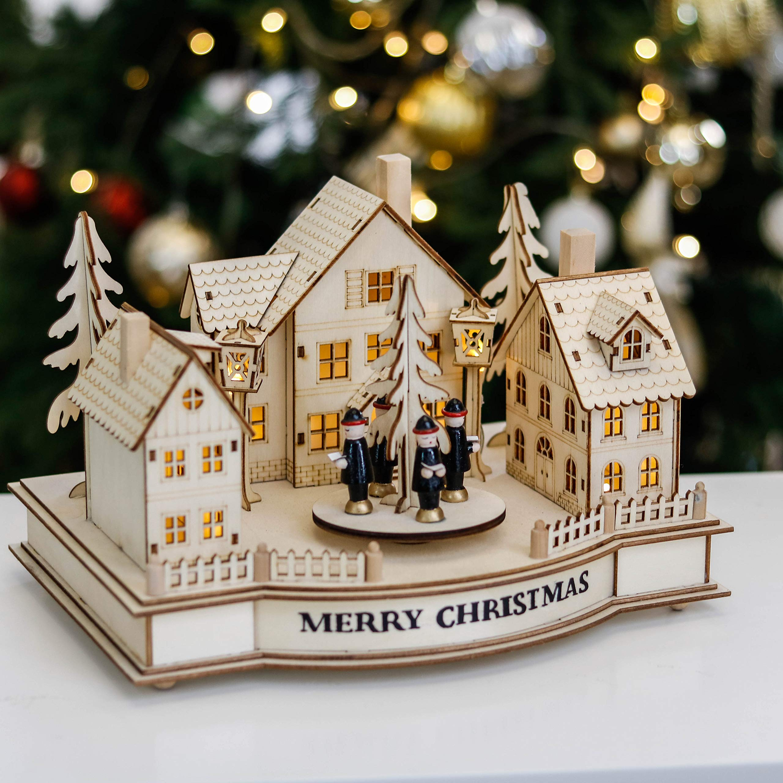 Woodland 15.3Inch//39cm 24-Day Pre-Lit Xmas Wooden Decoration with Lights for Tabletop Valery Madelyn LED Christmas Countdown Advent Calendar Ornament