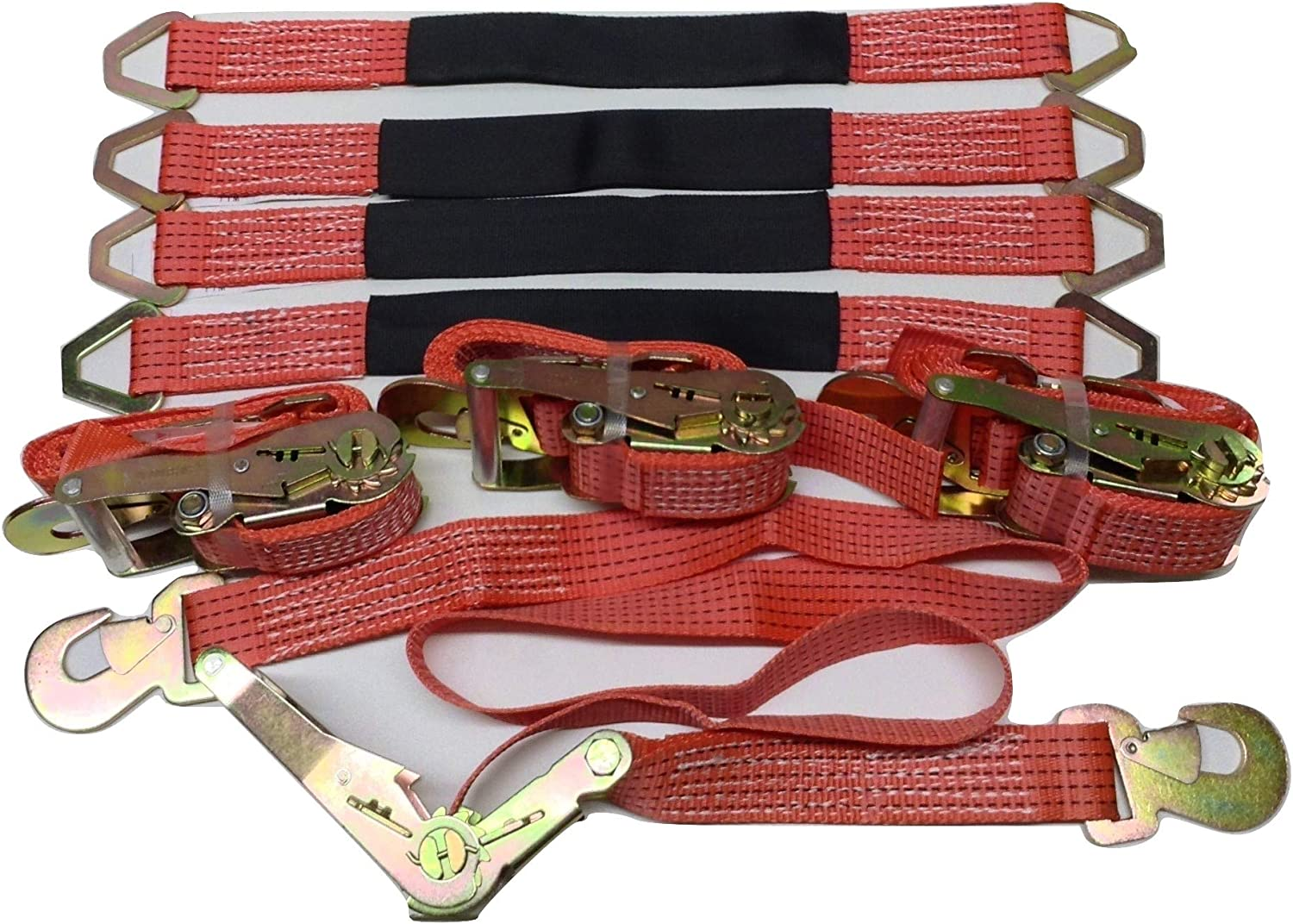 4 Axle Strap Tie Downs 24 Long and 4 Ratchet Tow Straps Car Haulers Red