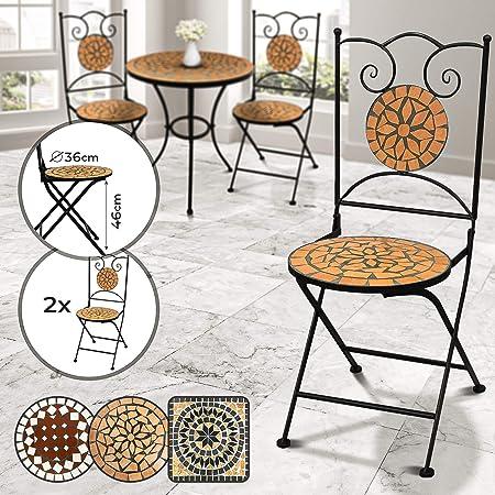 Jago Mosaik Gartenstühle Rund 2er Set Klappbar 46cm Sitzhöhe Massiv Und Stabil Terracotta Schwarz Farb Und Designauswahl Mosaikstühle