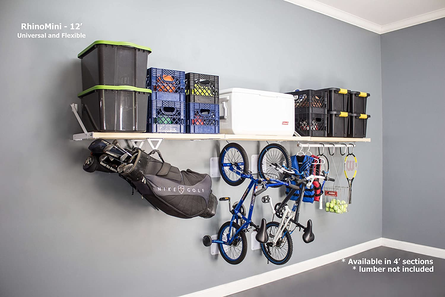 """DIY RhinoMini Universal Shelf Kits for Garages & Other Applications (12' Length; 20"""" Width)"""