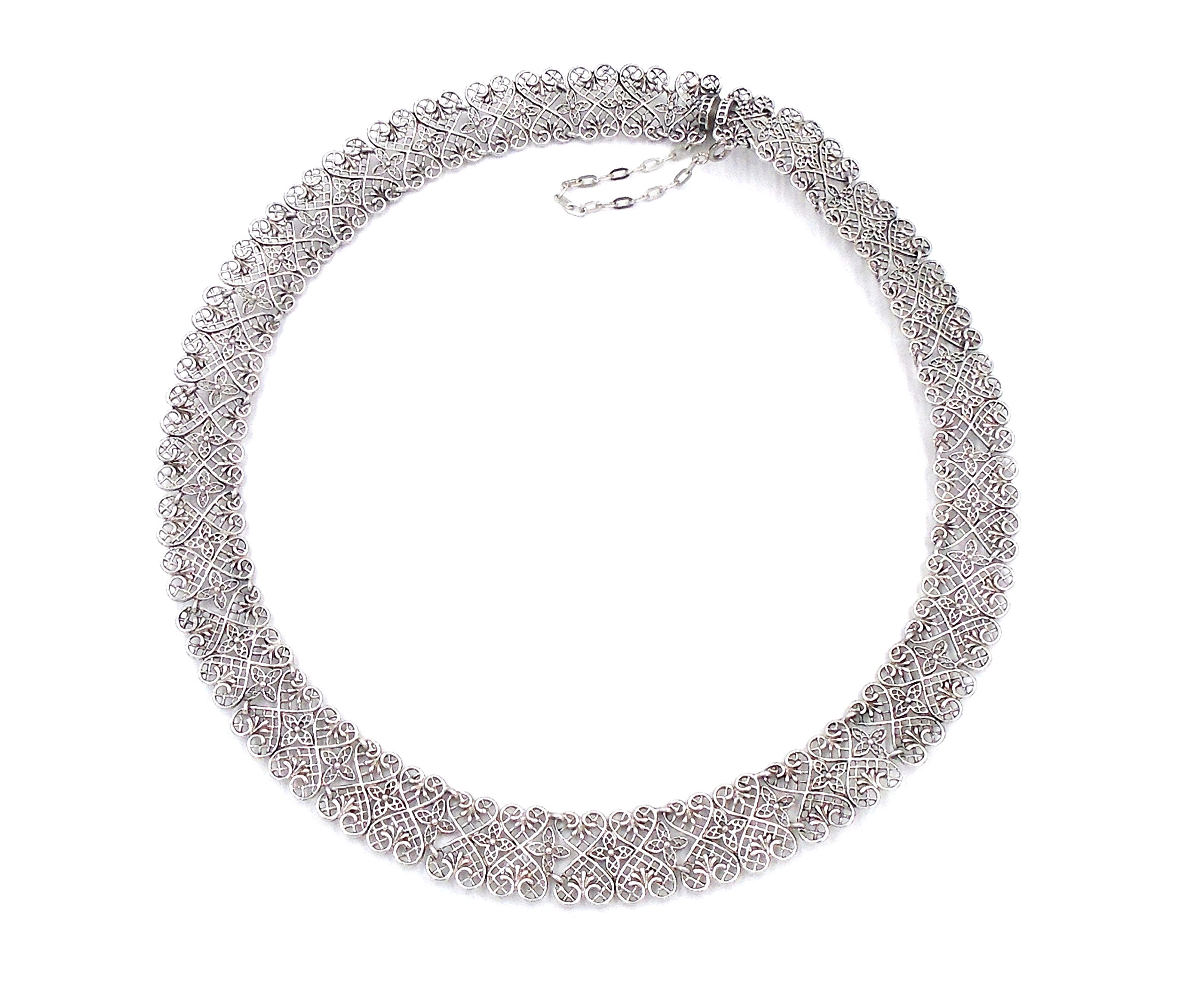 ''Heart Link Lace'' Sterling Silver Necklace by Heritage Museum Jewelry Replicas…