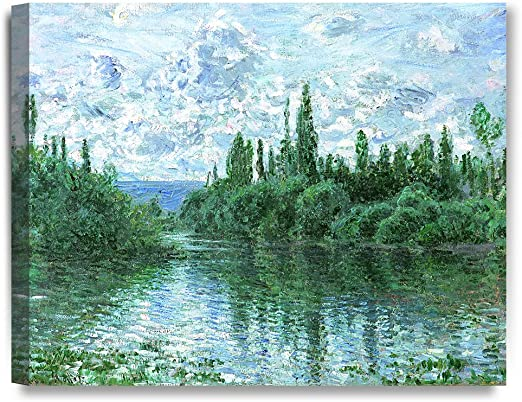 BANKS OF THE SEINE RIVER FRANCE BY CLAUDE MONET PAINTING ART REAL CANVAS PRINT