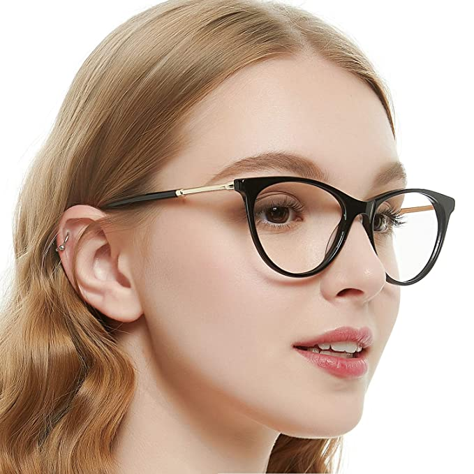 dec47d4632db OCCI CHIARI Oval Frames Black Eyeware Frame with Clear Lens Spring Hinge  For Women 53mm(