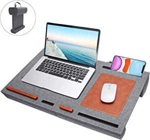 Laptop Desk Stand Mouse Pad - Fits up to 15 inches Folding Mat Pillow Lap Desk Adjustable with Cushion Wrist Pad, Laptop Pads Stand for Notebook, MacBook, Book Tablet Portable with Phone Holder