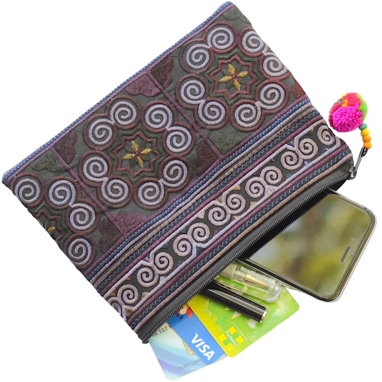 Sabai Jai Handmade Cosmetic Makeup Pen Coin Pouch Embroidered Boho Clutch Handbag Purse (Black)
