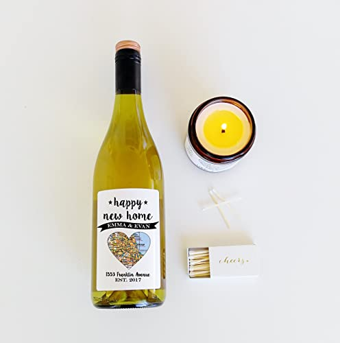 a339b0ffe48 Amazon.com: Custom Wine Label Wine Bottle Label Housewarming Gift New Home  Gift Personalized Wine Label Happy New Home Map Heart Map Art: Handmade
