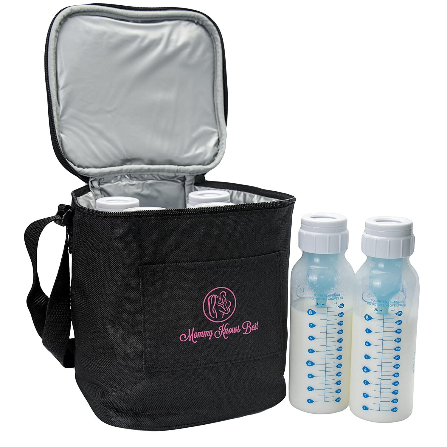 Extra Tall Breast Milk Baby Bottle Cooler Bag For Insulated Breastmilk Storage w/ Air Tight Design to Lock in the Cold & Preserve Important Nutrients for Your Baby (Fits up to 250 ml / 8 Oz. Bottles) Mommy Knows Best