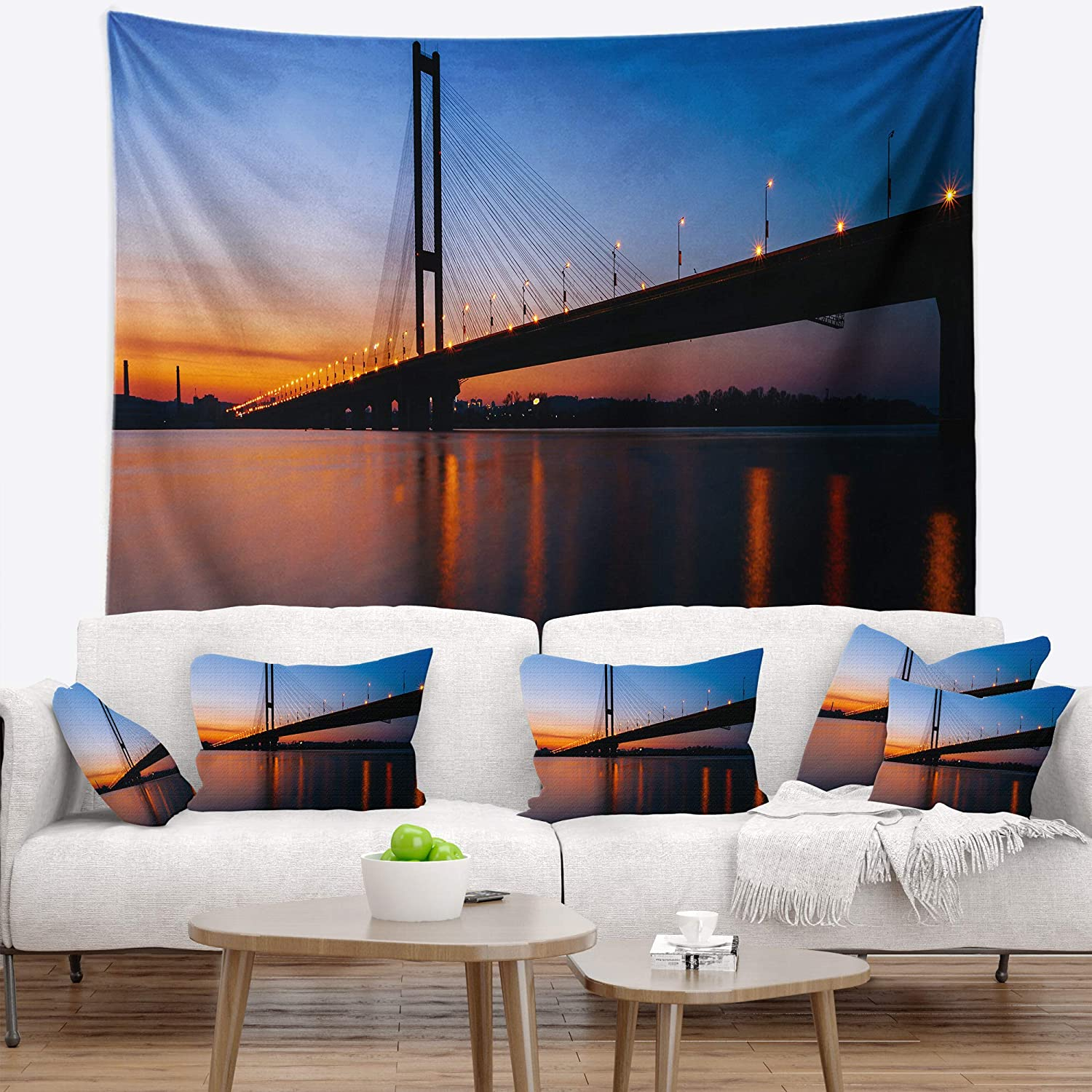 x 68 in Created On Lightweight Polyester Fabric Designart TAP11692-80-68  Southern Bridge Panorama in Kiev Cityscape Blanket D/écor Art for Home and Office Wall Tapestry x Large 80 in
