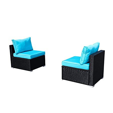 Outdoor Basic Patio Furniture 2-Pieces PE Rattan Wicker Sectional Blue Cushioned Sofa Sets