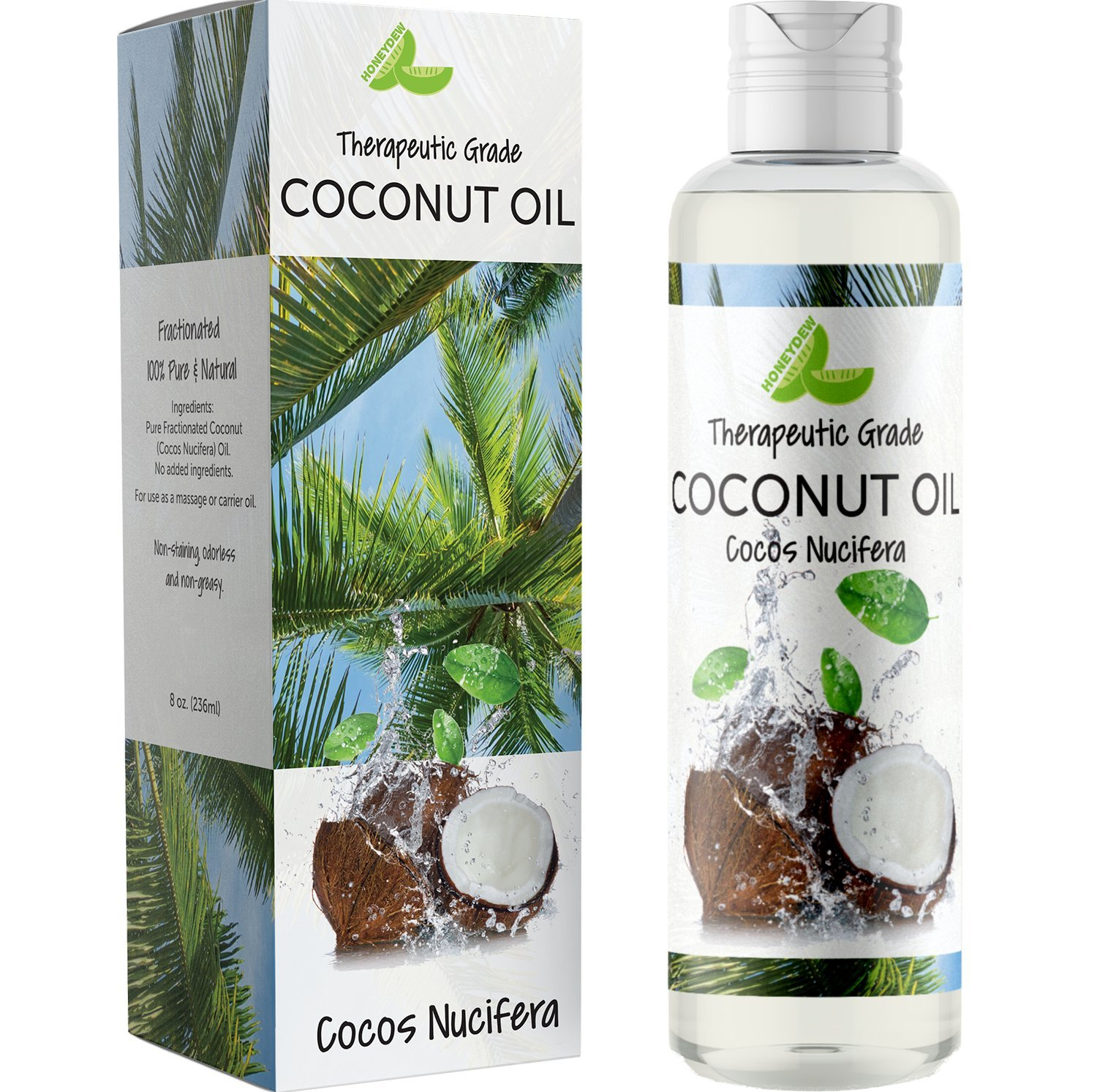 Coconut Oil for Skin Care – Pure Fractionated Coconut Oil for Hair Growth for Women & Men – Sensual Massage Oil with Aromatherapy Benefits – Paraben Free – Cruelty Free – 8oz by Honeydew