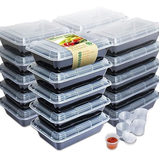Enther - Pack de 20 recipientes individuales con tapa para ...