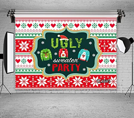 LB Ugly Christmas Backdrops for Photography 10x8ft Christmas Ball Sweater Party Photo Background for Pictures,Customized Photoshoot Props