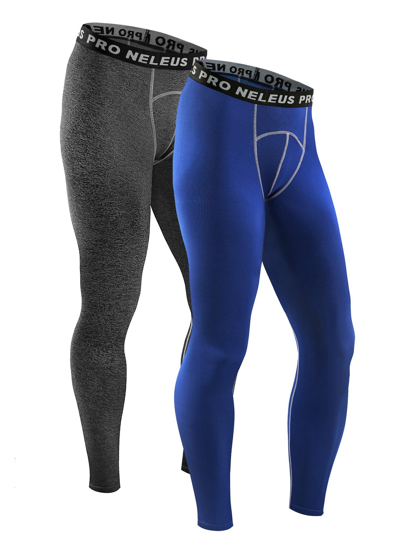 Neleus Men's 2 Pack Compression Pants Running Tights Sport Leggings,6026,Blue,Grey,S,EUR M