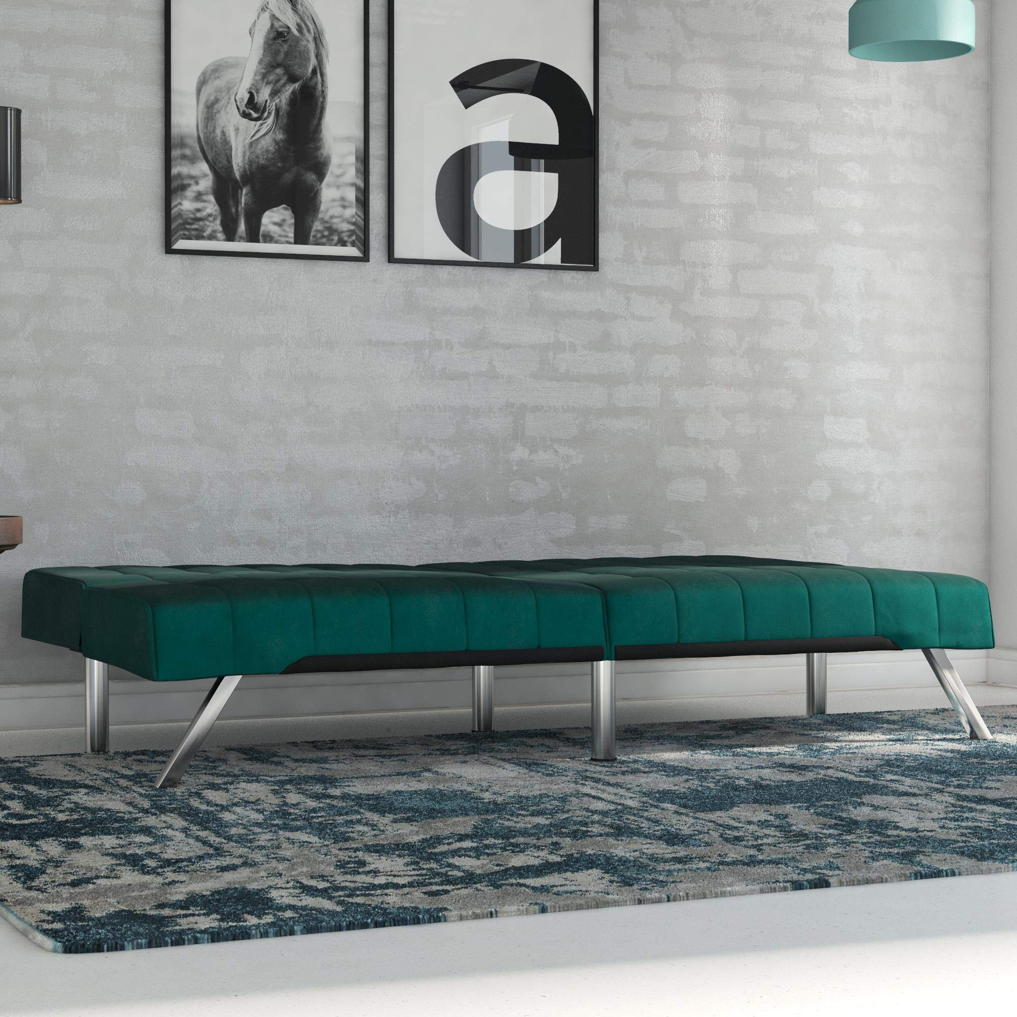 Surprising Dhp Emily Futon Sofa Bed Modern Couch Green Velvet Inzonedesignstudio Interior Chair Design Inzonedesignstudiocom