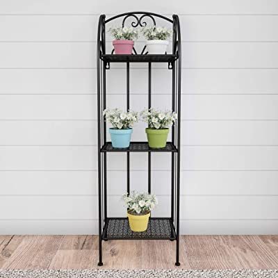 Home 50-LG1154 Plant Stand – 3-Tier Vertical Shelf Indoor or Outdoor Folding Wrought Iron Metal Garden Display with Staggered Shelves (Black) : Garden & Outdoor