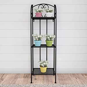 Home 50-LG1154 Plant Stand – 3-Tier Vertical Shelf Indoor or Outdoor Folding Wrought Iron Metal Garden Display with Staggered Shelves (Black)