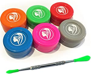 6 Nonstick Silicone/Food Grade Wax Jars + FREE Wax Tool