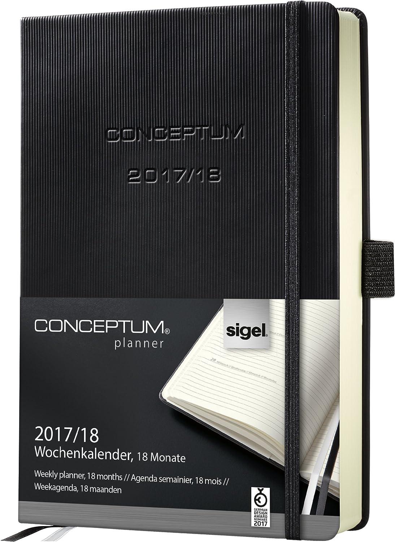 Sigel C1801 Agenda Settimanale Conceptum® 2017/2018, 18 Mesi, Copertina Rigida, 256 Pagine, Circa A5, Nero