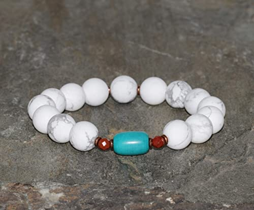 Picture Jasper Gemstone Charm Bracelet White Howlite Tourmalated Quartz