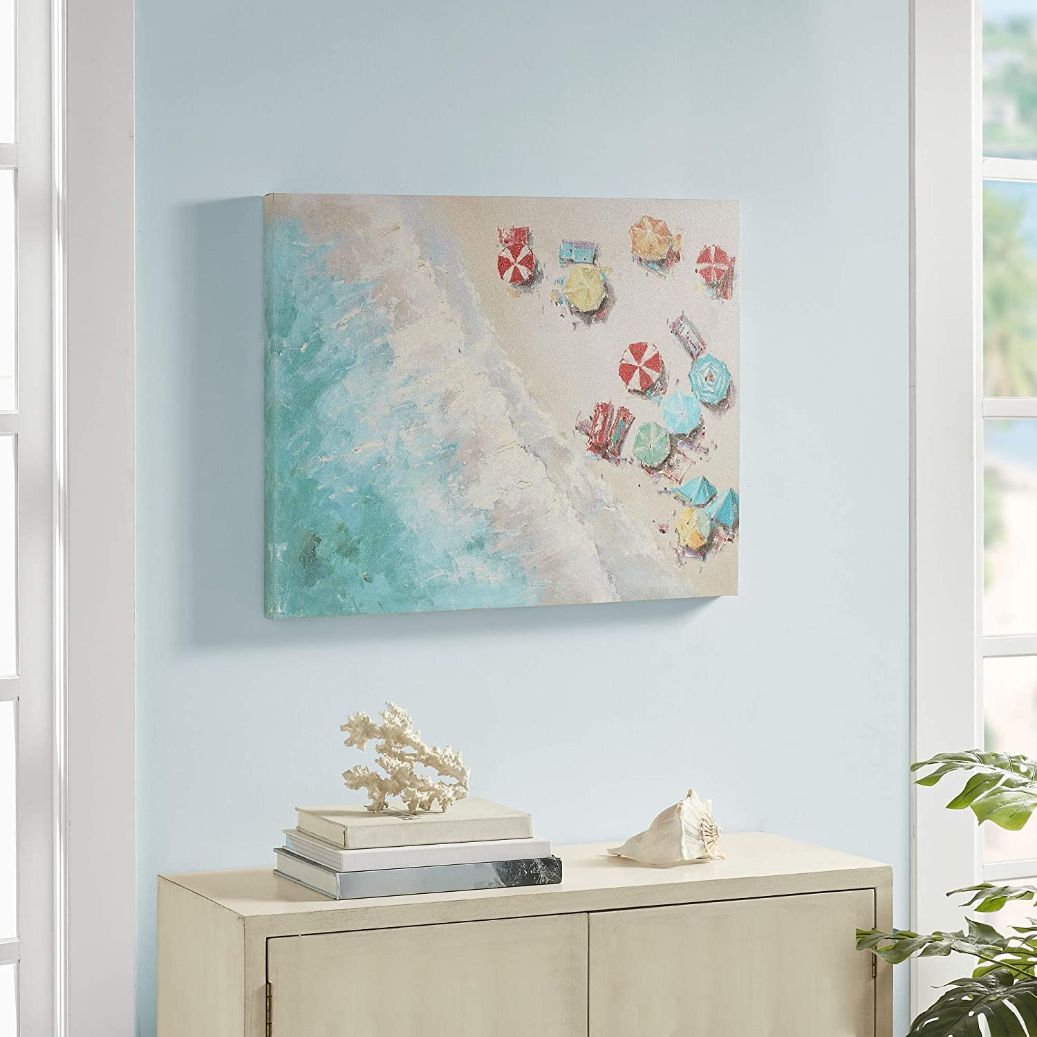 """Urban Habitat Aerial Beach Wall Art Living Room Décor - Coastal Shore Print Gel Coated Canvas Home Accent Modern Bathroom Decoration, Ready to Hang Poster Painting for Bedroom, 28"""" x 22"""", Multi: Home & Kitchen"""