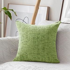 Home Brilliant Summer Pillow Covers 18x18 Decorative Pillow Cover Soft Farmhouse Chenille Plush Velvet Cushion Case for Garden Chair, 45x45 cm, Apple Green