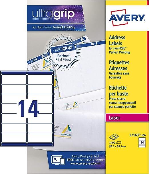 Avery España L7163-100 Caja de 1400 etiquetas blanca adhesivas 99.1 x 38.1 mm, A4: Amazon.es: Oficina y papelería