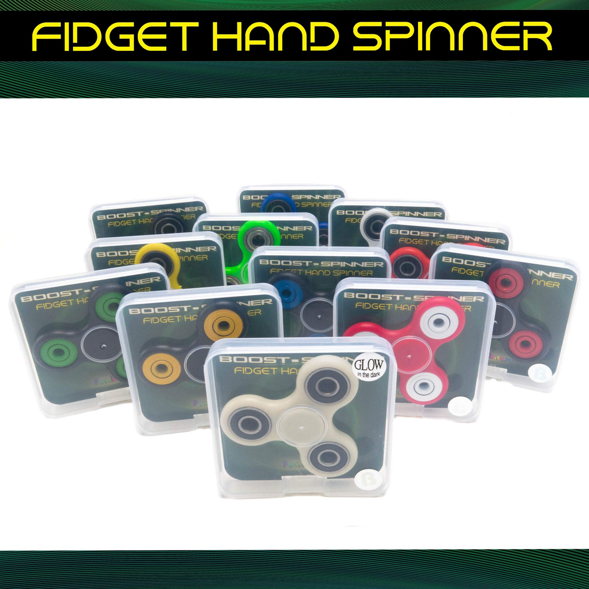 12 PCs Fidget Spinner Pack for Kids - Metallic Toy Spinners - Great Party Favors for Boys Girls - Stress Relief Toys for Adults and Children, 2-3 Min Spin, Relieves Your ADD ADHD Autism (Solid) by FROG SAC (Image #4)