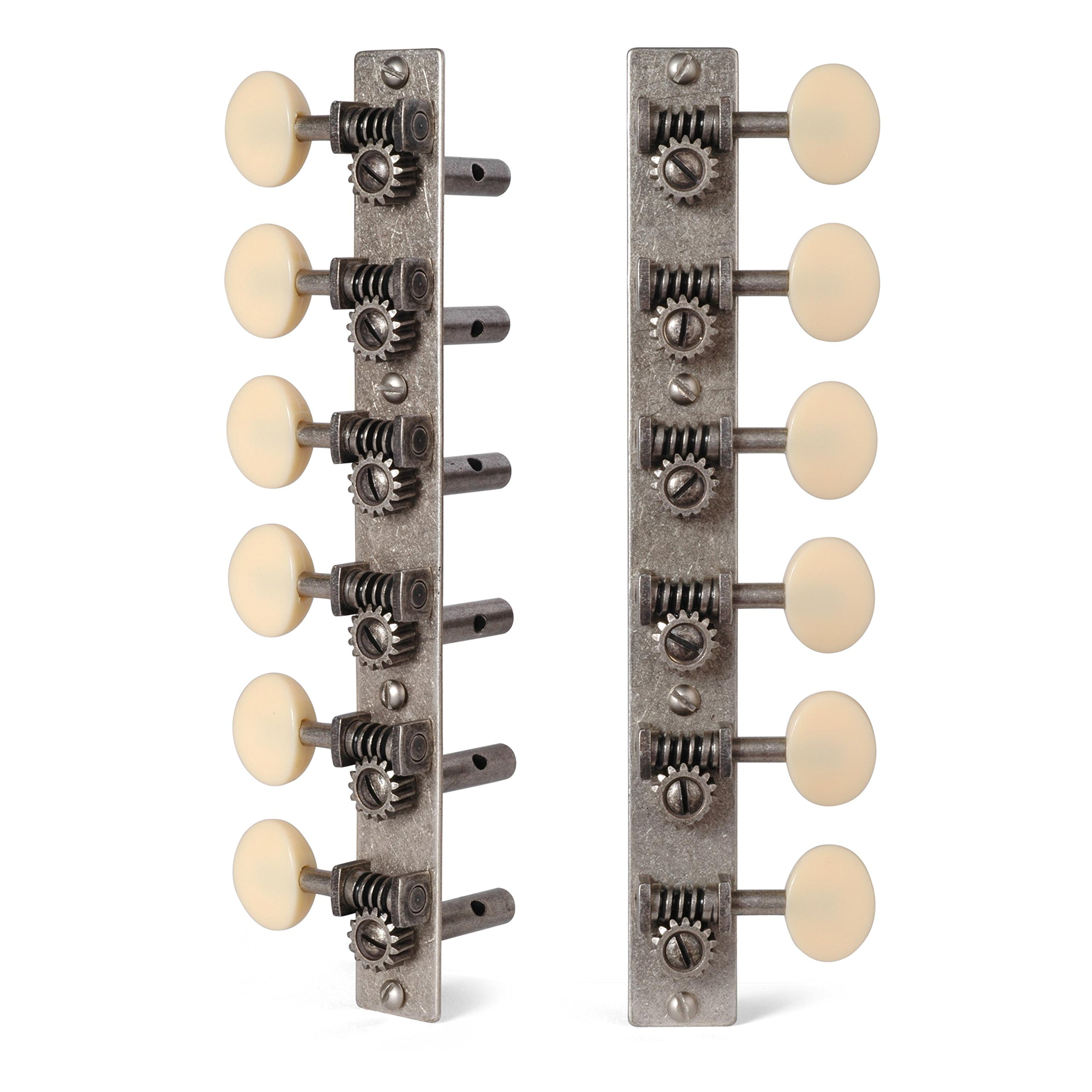 Golden Age Restoration Tuners for 12-String Slotted Peghead Guitar, Relic Nickel with Cream Knobs