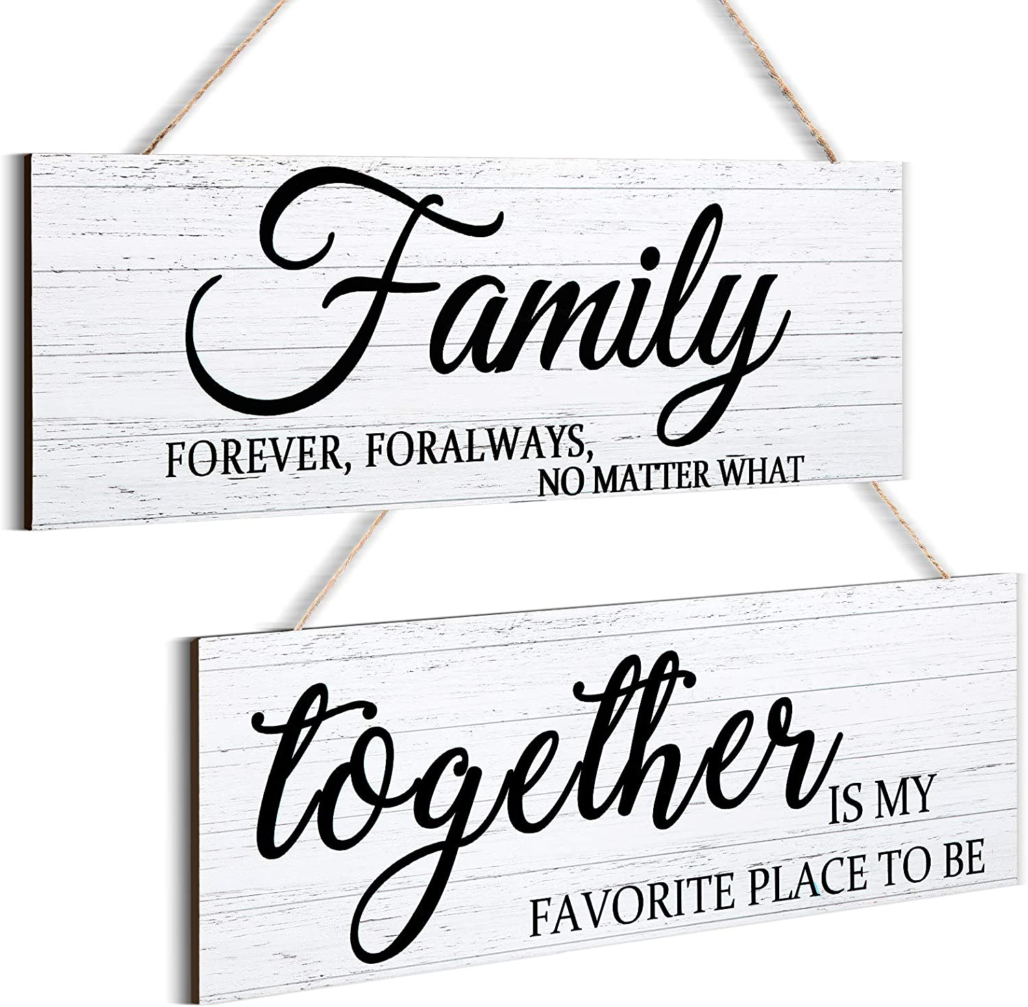 2 Pieces Family Quotes Wall Sign Together Wooden Wall Decor Printed Rustic Wood Sign Farmhouse Style Entryway Sign Plaque for Bedroom Living Room Office Outdoor Home Decorations, 4.7 x 13.8 Inch