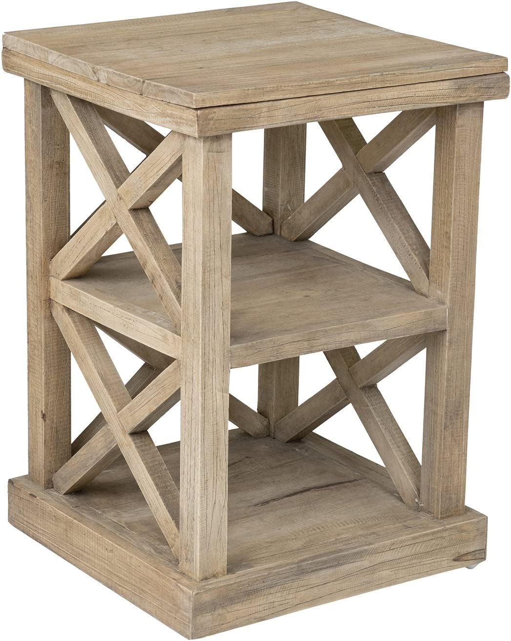 East at Main Madeline Rustic End Table, Brown, (17