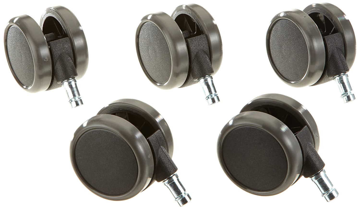 hjh OFFICE, 619010, Castors, Wheels for office, executive chairs, ROLO, black, , Set of 5 x special castors for hard floors 11 mm pin, 65 mm diameter wheel e.g. parquet, laminate, tile or stone floor, braked saftey, casters