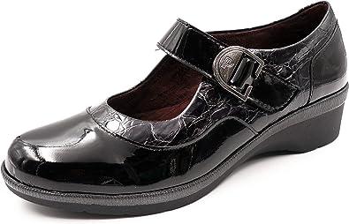 Zapato Mujer cómodo Tipo Mercedes PITILLOS, en Charol Combi