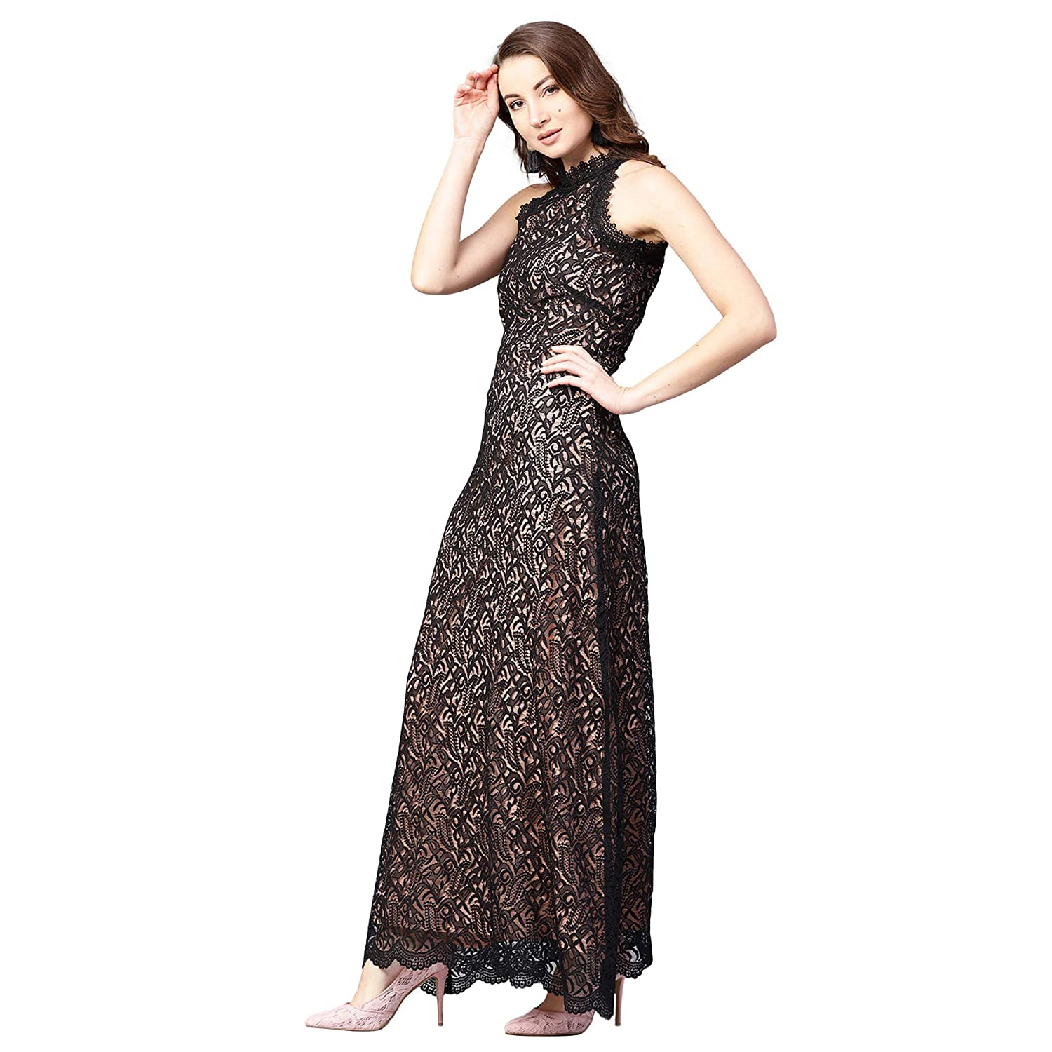 54f140580e Athena Black Long Lace Maxi Dress with A Concealed Zip for Women (Size :  XXL): Amazon.in: Clothing & Accessories