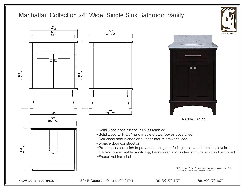 Water Creation Manhattan24 Manhattan Collection 24inch (25inch With  Countertop) Single Sink Bathroom Vanity Set   Amazon